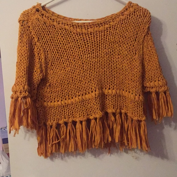 34167648fdf7be Free People Tops | Mustard Knitted Festival Tee | Poshmark